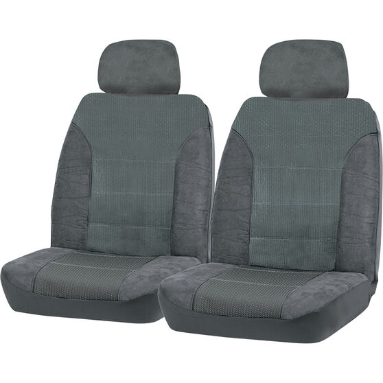 SCA Premium Jacquard and Velour Seat Covers - Charcoal Adjustable Headrest size 30 Front Pair Airbag Compatible, , scaau_hi-res