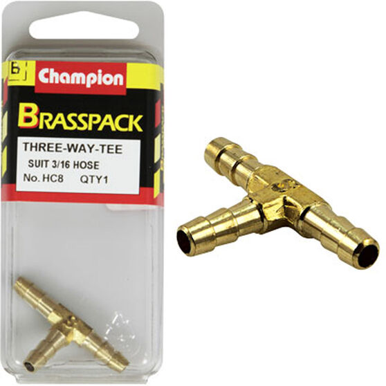 Champion T Pieces - 3 / 16inch, Brass, , scaau_hi-res