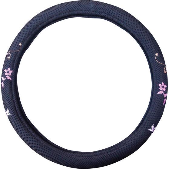 SCA Blossom Steering Wheel Cover - Mesh, Black / Orange / Purple, 380mm diameter, , scaau_hi-res