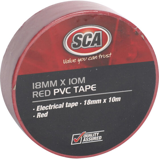 SCA PVC Electrical Tape - Red, 18mm x 10m, , scaau_hi-res