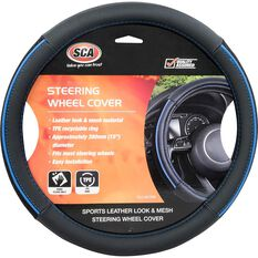SCA Steering Wheel Cover - PU and Mesh, Black/Blue, 380mm diameter, , scaau_hi-res