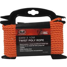 Twisted Poly Rope - Orange, 6mm x 10m, , scaau_hi-res