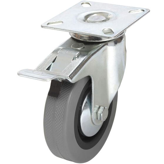 SCA Caster Wheel - 100 x 25mm, Metal Brake, Swivel, , scaau_hi-res