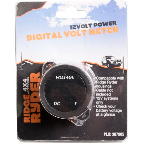 Ridge Ryder 12V Voltmeter - Digital, , scaau_hi-res