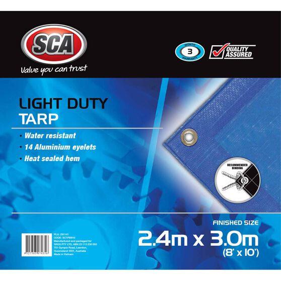 SCA Light Duty Poly Tarp - 2.4m X 3.0m (8 X 10), 80GSM, Blue, , scaau_hi-res