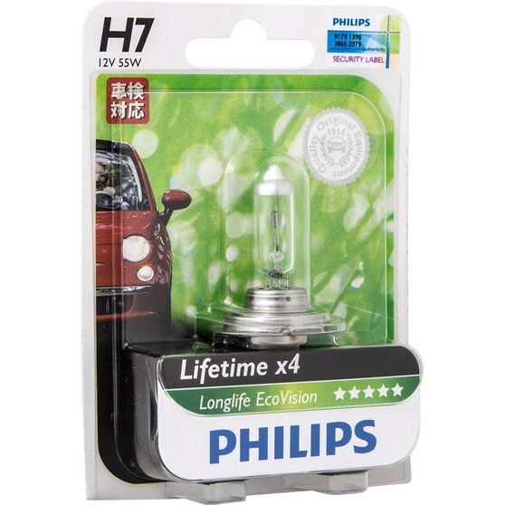 Philips LongLife EcoVision Headlight Globe - 12V, H7, 55W, , scaau_hi-res