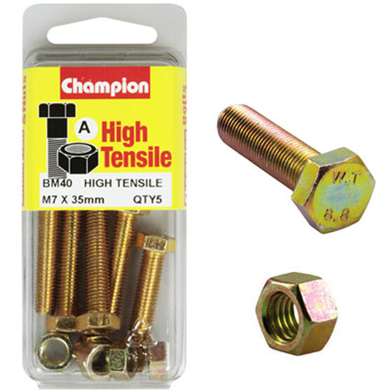 Champion High Tensile Bolts and Nuts - M7 X 35, , scaau_hi-res