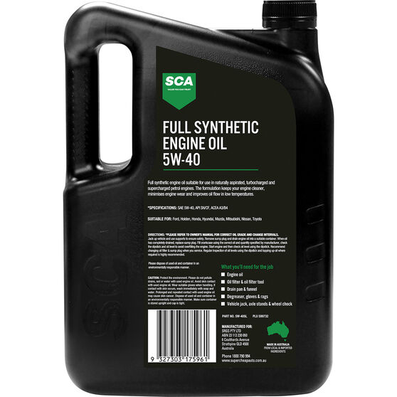 SCA Full Synthetic Engine Oil 5W-40 A3/B4 5 Litre, , scaau_hi-res