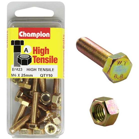 Champion High Tensile Bolts and Nuts - M6 X 25, , scaau_hi-res