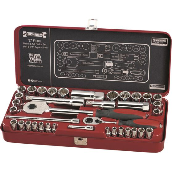 Sidchrome Socket Set - 1 / 4 inch and 1 / 2 Drive, Metric and Imperial, 37 Piece, , scaau_hi-res