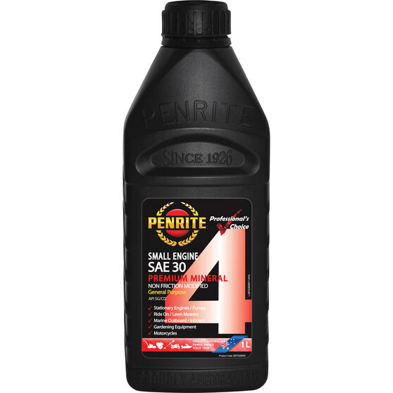 Penrite Small Engine 4 Stroke Engine Oil - SAE30, 1 Litre, , scaau_hi-res