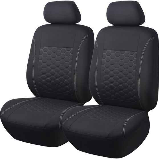 SCA 3D Look Seat Covers - Black Adjustable Headrests Size 30 Front Airbag Compatible, , scaau_hi-res