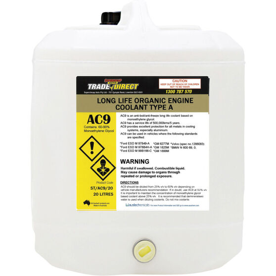 Trade Direct Long Life Type A Coolant Concentrate Coolant - 20 Litre, ST / AC9 / 20, , scaau_hi-res
