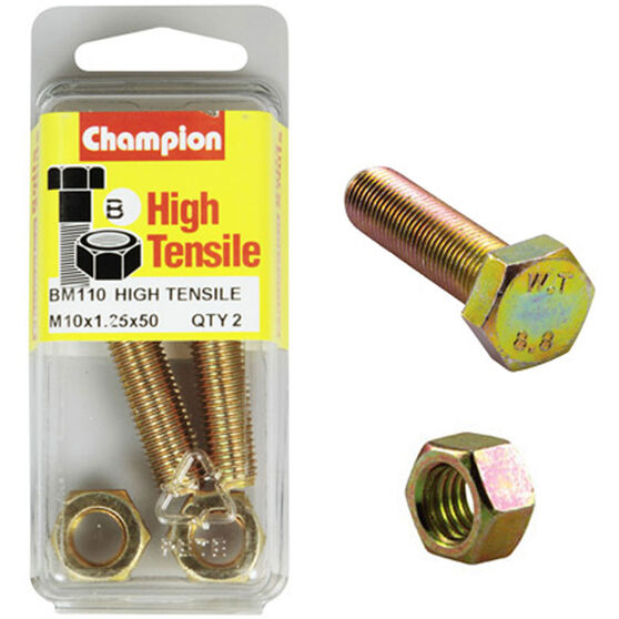Champion High Tensile Bolts and Nuts - M10 X 45, , scaau_hi-res