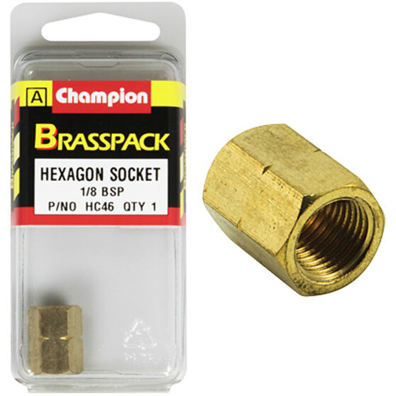 Champion Hex Socket - 1 / 8inch, Brass, , scaau_hi-res
