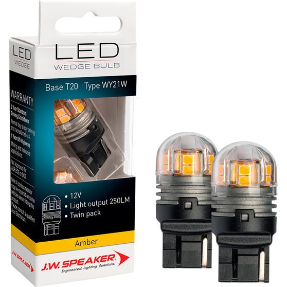 JW Speaker LED Wedge - T20, 12V, Amber, , scaau_hi-res