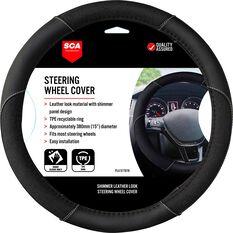 SCA Steering Wheel Cover - Leather Look, Black, 380mm diameter, , scaau_hi-res