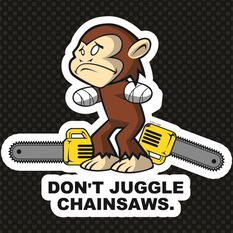 Hot Stuff Sticker - Monkey Chainsaw, Vinyl, , scaau_hi-res