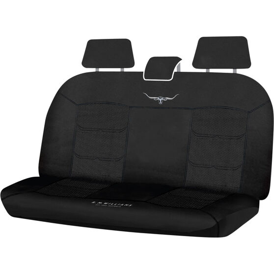 R.M.Williams Woven Seat Covers - Black Adjustable Headrests Size 06H Rear Seat, , scaau_hi-res