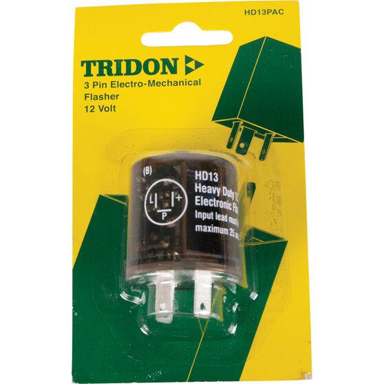 Tridon Flasher Relay Unit, Non Load Sensitive - 12V, 3 Pin, , scaau_hi-res