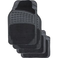 Combo Car Floor Mats - Carpet & Rubber, Black, Set of 4, , scaau_hi-res