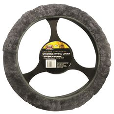 Steering Wheel Cover - Sheepskin, Charcoal, 380mm diameter, , scaau_hi-res