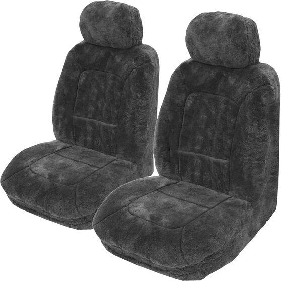 Platinum Cloud Sheepskin Seat Covers - Slate Adjustable Headrests Size 30 Front Pair Airbag Compatible Slate, Slate, scaau_hi-res