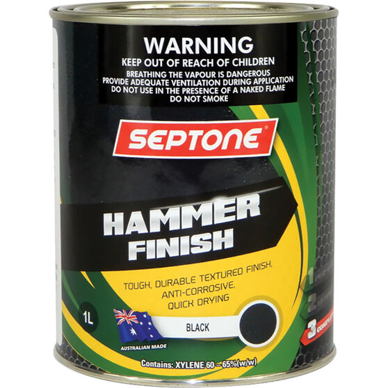 Septone Paint Hammer Finish - Black, 1 Litre, , scaau_hi-res