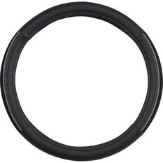 SCA Steering Wheel Cover - PU and Mesh, Black/Grey, 380mm diameter, , scaau_hi-res