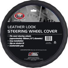 Steering Wheel Cover - Leather Look, Grey, 380mm diameter, , scaau_hi-res