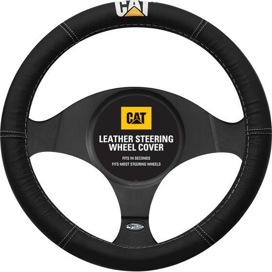 Caterpillar Steering Wheel Cover - Leather, Black, 380mm Diameter, , scaau_hi-res
