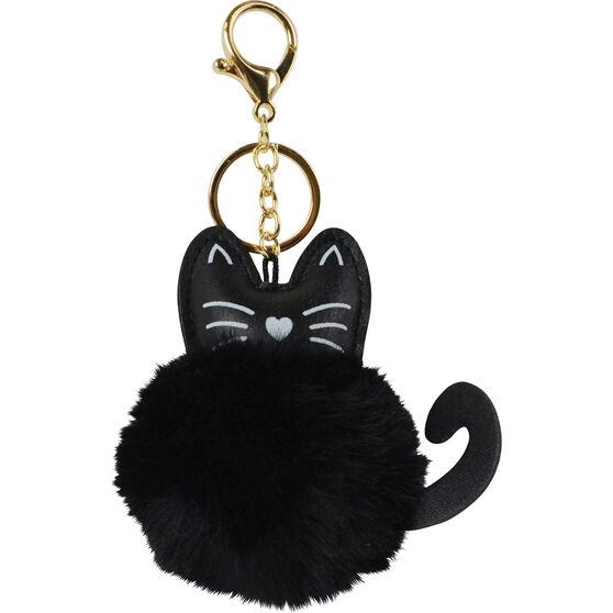 Pom Pom Keyring - Black Cat, , scaau_hi-res