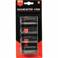 SCA Long Life Alkaline D Batteries - 4 Pack, , scaau_hi-res