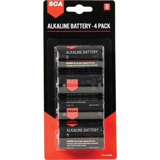 SCA Alkaline D Batteries 4 Pack, , scaau_hi-res