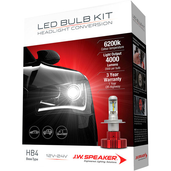 J.W. Speaker Headlight Conversion Kit - LED HB4, , scaau_hi-res