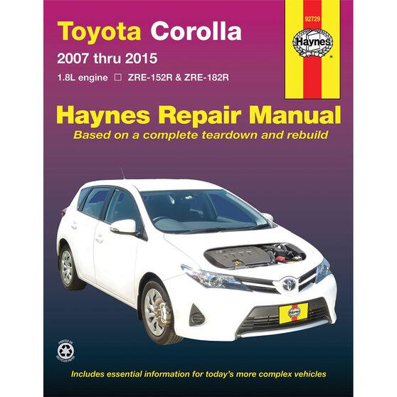 Haynes Car Manual Toyota Corolla, 2007-2015 - 92729, , scaau_hi-res