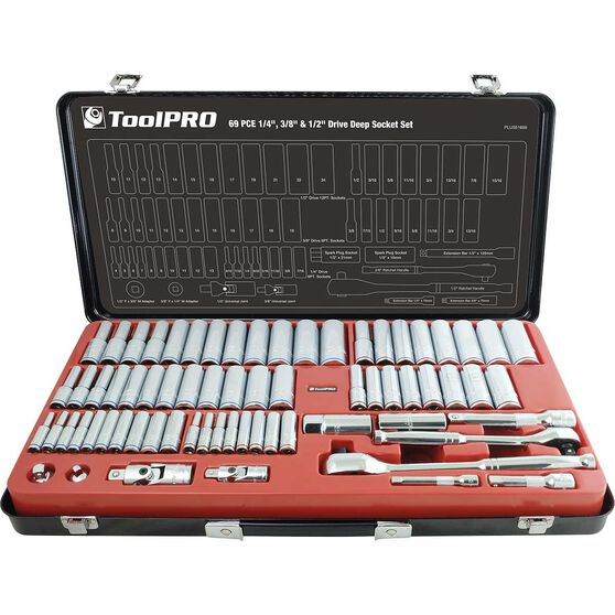 "ToolPRO Socket Set - 1/4"", 3/8"" and 1/2"" Drive, Metric & Imperial, 69 Piece, , scaau_hi-res"