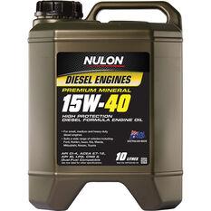 Nulon Premium Mineral High Protection Diesel Oil - 15W-40, 10 Litres, , scaau_hi-res