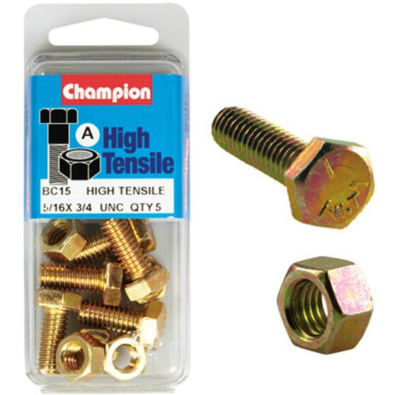 Champion High Tensile Bolts and Nuts - UNC 3 / 4inch X 5 / 16inch, , scaau_hi-res