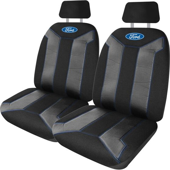 Ford Fusion Seat Covers - Black and Blue, Adjustable Headrests, Size 30, Front Pair, Airbag Compatible, , scaau_hi-res