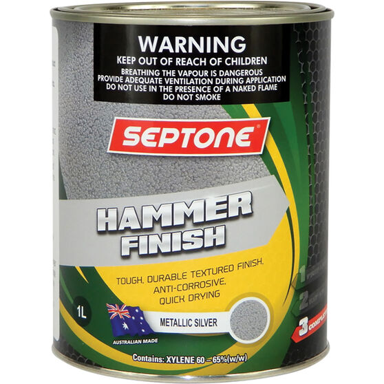 Septone Paint Hammer Finish - Metallic Silver, 1 Litre, , scaau_hi-res