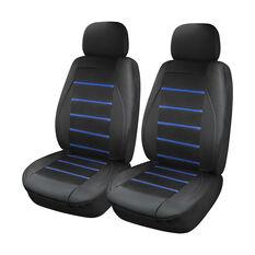 Stripe Seat Covers -Black/Blue, Adjustable Headrests, , scaau_hi-res