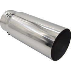 Stainless Steel Exhaust Tip - Straight Cut Tip suits 52mm to 76mm, , scaau_hi-res