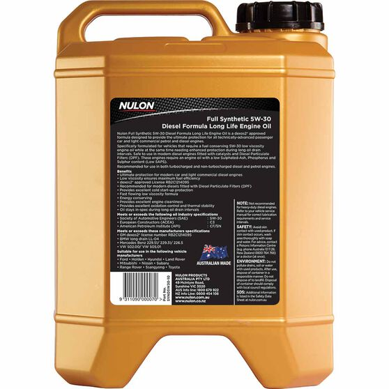 Nulon Full Synthetic 5W-30 Long Life Performance Engine Oil 10L, , scaau_hi-res