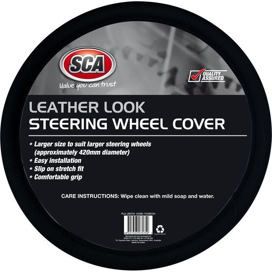 SCA Steering Wheel Cover - Leather Look, Black, 430mm diameter, , scaau_hi-res