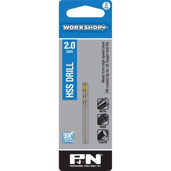 P&N Workshop Drill Bit HSS - Tin Tipped, 2.0mm, 2 Pack, , scaau_hi-res
