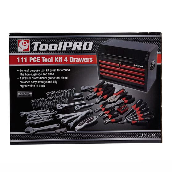 ToolPRO Tool Kit - 26inch, 4 Drawer Chest, 111 Piece, , scaau_hi-res