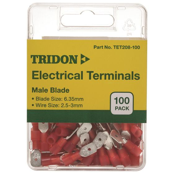 Tridon Electrical Terminals - Male Blade, Red, 6.35mm, 100 Pack, , scaau_hi-res