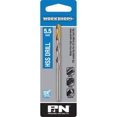 P&N Workshop Drill Bit HSS - Tin Tipped, 5.5mm, , scaau_hi-res