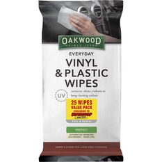 Oakwood Everyday Vinyl & Plastic Wipes 25 Pack, , scaau_hi-res